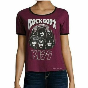 KISS Rock Gods Band Graphic Tee Shirt Maroon 0X